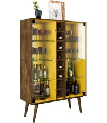 cristaleira com adega lyam decor módena madeira rústica amarelo