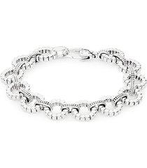 links sterling silver bubbled circle-link bracelet