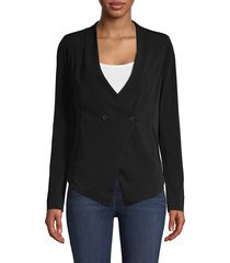 bcbgeneration women's asymmetrical double breasted jacket - black - size xs