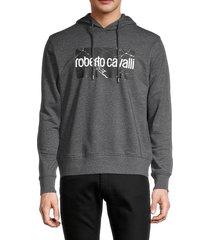 roberto cavalli men's graphic logo hoodie - charcoal - size xxl