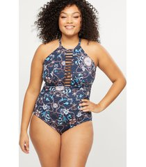lane bryant women's strappy high-neck swim one piece with no-wire bra 28 indigo elizabethan floral