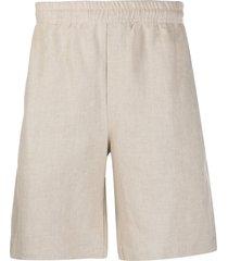 msgm straight-leg loose shorts - neutrals