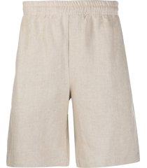 msgm straight-leg loose shorts - neutrals