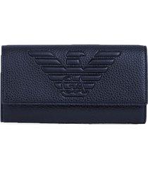 emporio armani mxi logo blue wallet