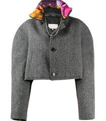 maison margiela cropped button-front jacket - grey