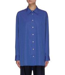 'gianluca' sleeve slit button-up cotton shirt