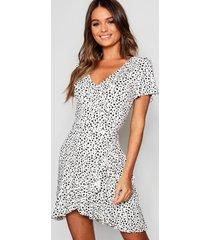 dalmatian wrap front ruffle tea dress, ivory