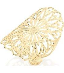 anel aro aberto com parte superior vazada em forma de flor rommanel