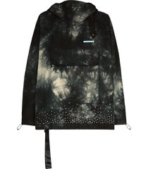 off-white tie-dyed crystal-embellished hooded jacket - black