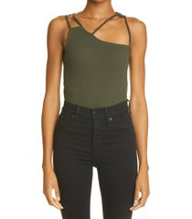 k.ngsley unisex fist geometric cutout ribbed tank, size x-small in dark olive at nordstrom