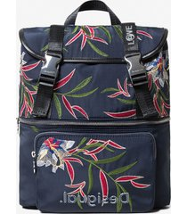floral embroidered backpack - blue - u