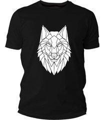 camiseta criativa urbana lobo tribal preto