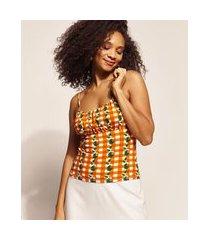regata feminina emi beachwear estampada picnic com franzido alça fina decote redondo laranja