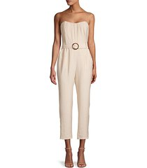 strapless belted cropped jumpsuit