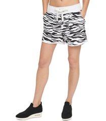 dkny sport zebra-print roll-cuff shorts