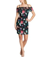 guess cold-shoulder embroidered lace dress