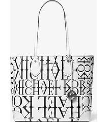 mk borsa tote grande eva in pelle con logo effetto giornale - bianco ottico/nero (nero) - michael kors