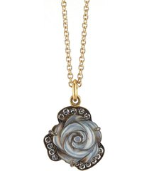mother of pearl and diamond rose necklace
