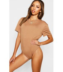 basic one piece met t-shirt top, kameel