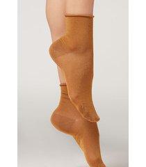 calzedonia glitter ankle socks woman yellow size tu