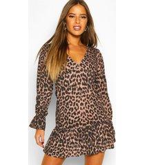 petite leopard print volume sleeve frill hem dress, brown
