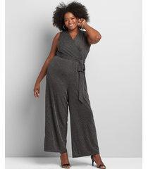 lane bryant women's crossover metallic-striped jumpsuit 26/28p black