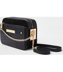 river island womens black side chain boxy crossbody bag