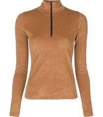john elliott zip-up fitted top - brown