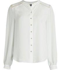 tommy hilfiger women's topstitched blouse - ivory - size l