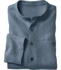 linnen overhemd 1/1-mouw, rookblauw s