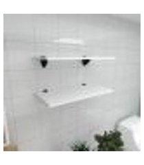 kit 2 prateleiras para banheiro em mdf suporte tucano branco 60x30cm modelo pratbnb05