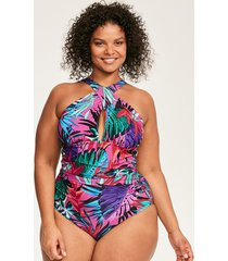 bahama palm curve wrap neck shaping one-piece swimsuit