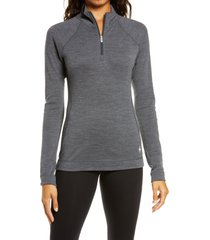 women's smartwool merino base layer pullover, size large - grey