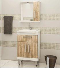 conjunto para banheiro 3 portas 1 gaveta lilies mã³veis - branco/marrom - dafiti