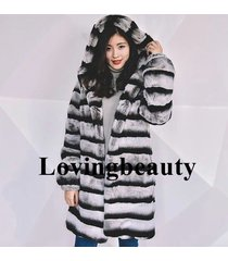 real hooded chinchilla fur coat/mens chinchilla coat/ lynx fur/chinchilla rex