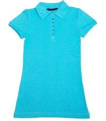 camisa polo via costeira em algodão feminina