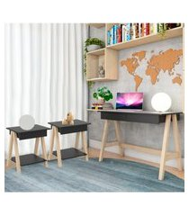 escrivaninha cavalete e conjunto mesa lateral natural preto casah