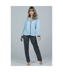 pijama feminino serra e mar modas longo com botões imperium azul claro
