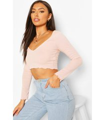 petite lettuce hem v-neck long sleeve crop top, peach