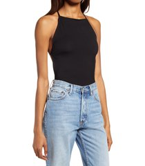 women's reformation dexter strappy open back bodysuit, size small - black