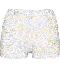peony belted floral-print bikini bottoms - blue