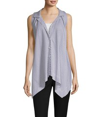 donna karan women's stripe sleeveless trapeze top - white/navy - size s