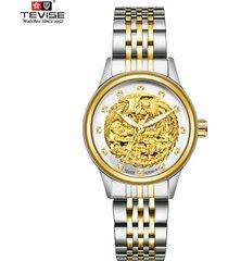 reloj, relojes mecánico automático para hombres y-dorado