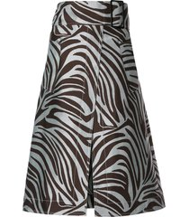 3.1 phillip lim zebra jacquard belted skirt - blue