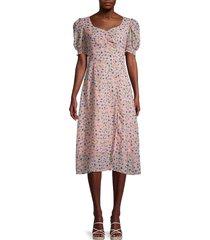 avantlook women's floral puff-sleeve dress - size xs
