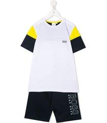 boss kidswear colour block tracksuit set - white