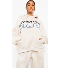 oversized hoodie met tekst, ivory