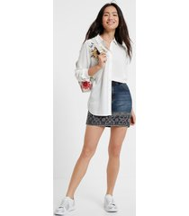 embroidered denim mini-skirt - blue - 32
