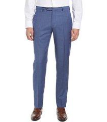 men's zanella parker flat front sharkskin wool trousers, size 42 x r - blue