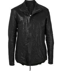 boris bidjan saberi mesh-panel layered leather jacket - black